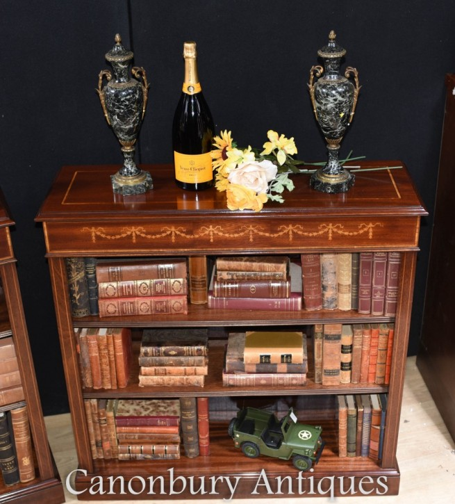 Regency Open Front Bookcase - Mahogany Sheraton Inlay
