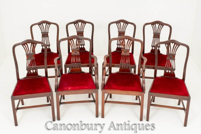 Set Hepplewhite Dining Chairs in Mahogany