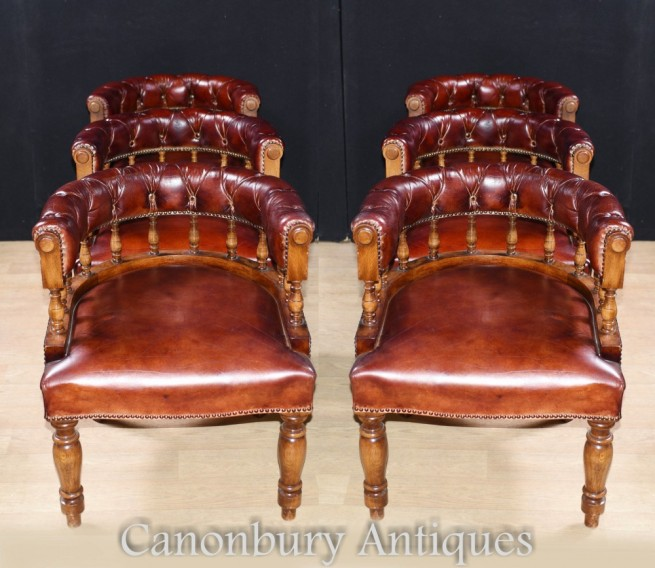 Set Leather Captains Chairs - Leather Tub Library Arm Chair