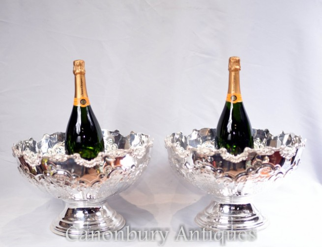 Sheffield Silver Plate Punch Bowls - Champagne Wine Coolers