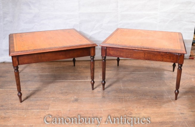 Sheraton Side Tables - Regency Satinwood Painted Tops