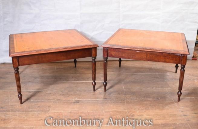 Sheraton Side Tables - Regency Satinwood Painted Tops