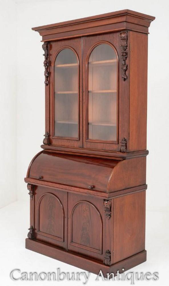 Victorian Mahogany Secretaire Bookcase Desk Circa 1860