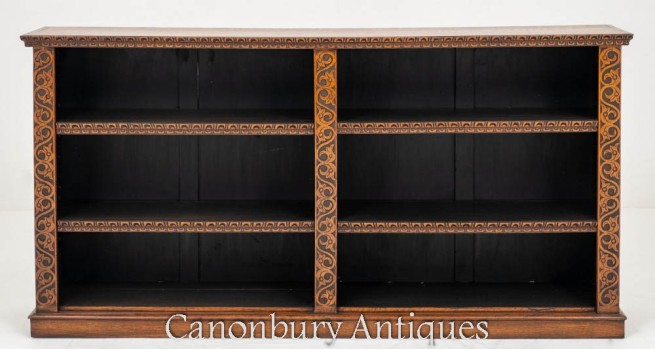 Victorian Open Bookcase Oak Antique 1860
