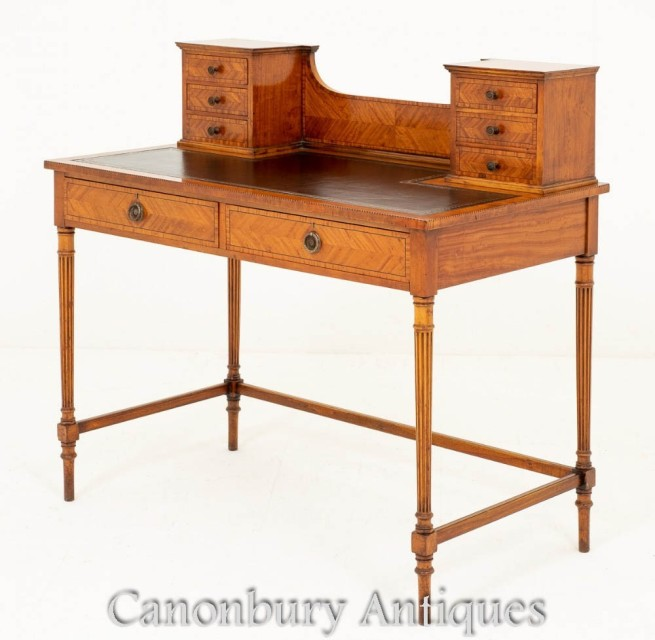 Victorian Writing Table Ladies Desk Satinwood Circa 1880
