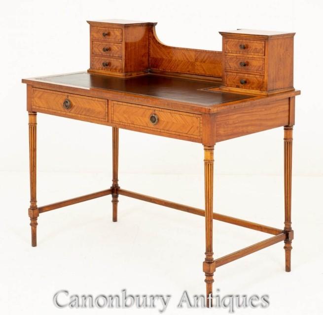 Victorian Writing Table Ladies Desk Satinwood Circa 1880